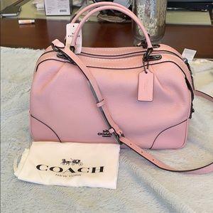 Coach Women's Pink Pebble Leather Satchel Bag